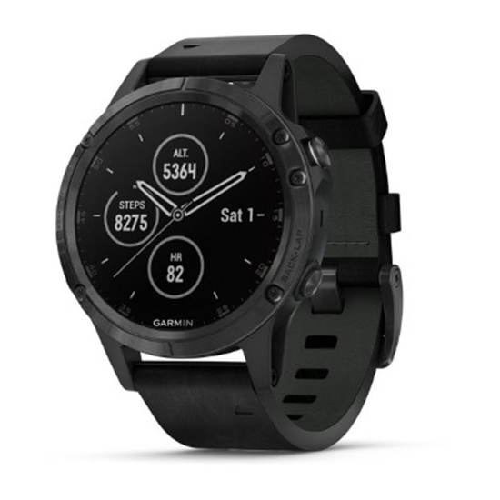 Picture of Garmin fenix 5 Plus Sapphire - Black with Black Leather Band