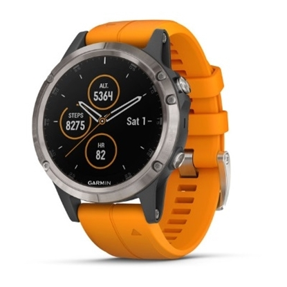 Picture of Garmin fenix 5 Plus Sapphire - Titanium with Orange Band