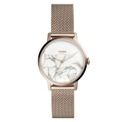 Picture of Fossil Ladies' Neely Rose Gold Mesh Strap Watch w/ Marble Dial