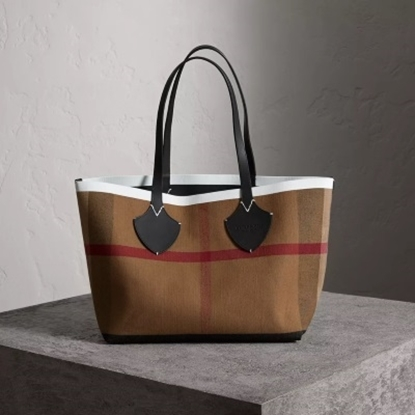Picture of Burberry Reversible Check Tote - Black/White