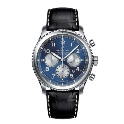 Picture of Breit Navitimer 8 B01 Chrono 43 with Leather Strap & Blue Dial