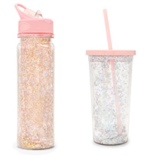 Picture of Ban.do Glittler Bomb Tumbler & Water Bottle - Pink Stardust