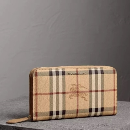 Picture of Burberry Haymarket Ziparound Wallet - Mid Camel