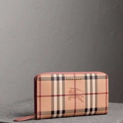Picture of Burberry Haymarket Ziparound Wallet - Elderberry