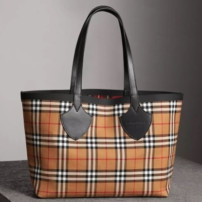 Picture of Burberry Reversible Tartan Tote - Brown/Red