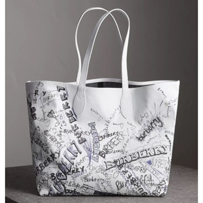 Picture of Burberry Reversible Doodle Tote - White