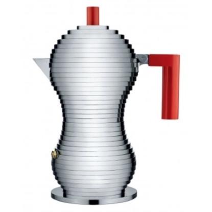 Picture of Alessi 6-Cup Espresso Coffee Maker Pulcina - Red Handle