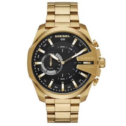 Picture of Diesel On Mega Chief Black Dial Gold-Tone Hybrid Smartwatch