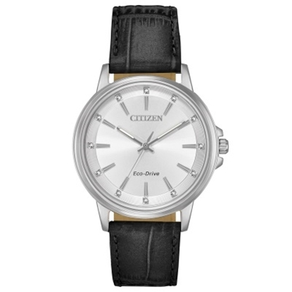 Picture of Citizen Women's Eco-Drive Chandler Black Leather Watch