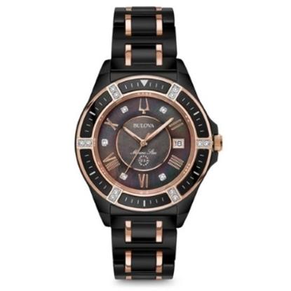 Picture of Bulova Women's Marine Star Rose Gold & Black-Tone Watch