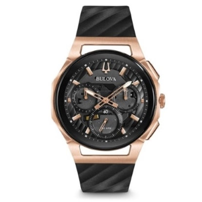 Picture of Bulova Men's Curv Chorongraph Black & Rose Gold-Tone Watch