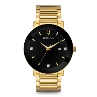 Picture of Bulova Men's Modern Diamond Gold & Black Dial Watch