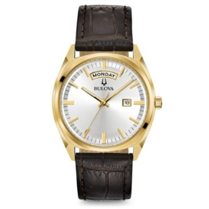 Picture of Bulova Men's Classic Gold-Tone & Brown Leather Strap Watch