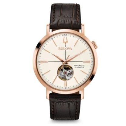 Picture of Bulova Men's Classic Auto Brown Leather Strap Watch