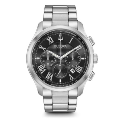 Picture of Bulova Men's Wilton Stainless Steel Black Dial Watch
