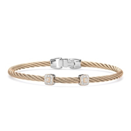 Picture of ALOR Carnation Cable 18K White Gold/Rose Gold Diamond Bangle