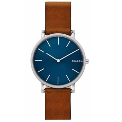 Picture of Skagen Men's Hagen Blue Dial Brown Leather Watch