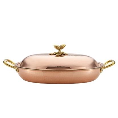 Picture of Ruffoni Historia Décor 15''x10.25'' Covered Oval Dish - Copper