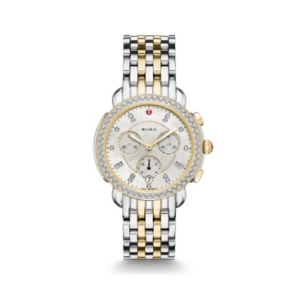 Picture of Michele Sidney Diamond Two-Tone Watch with Diamond Dial
