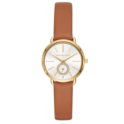 Picture of Michael Kors Portia Gold Case Watch with Brown Leather Strap