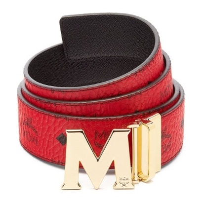 Picture of MCM Claus Reversible Gold Buckle Belt - Red