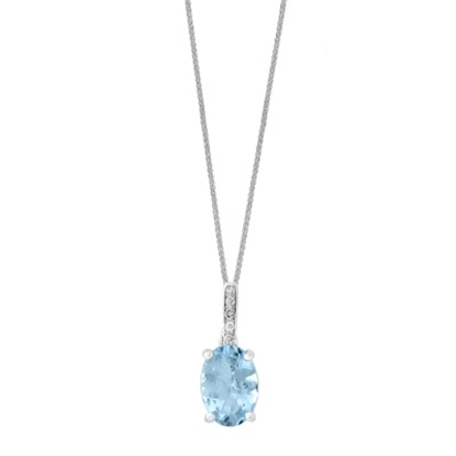 Picture of Lali 14K White Gold Diamond and Aquamarine Pendant with Chain