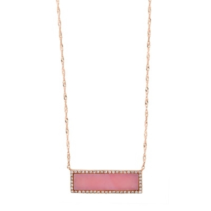 Picture of Lali 14K Rose Gold Diamond and Pink Opal 18'' Necklace