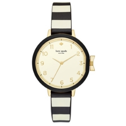 Picture of Kate Spade Black and Cream Stripe Silicone Park Row Watch