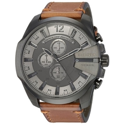 Picture of Diesel Mega Chief Chrono Brown Leather Watch with Black Dial
