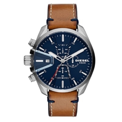 Picture of Diesel Men's MS9 Chronograph Brown Leather Watch w/ Blue Dial