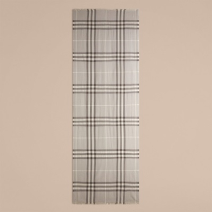 Picture of Burberry Check Wool and Silk Scarf - Pale Grey