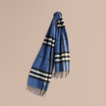 Picture of Burberry Classic Check Cashmere Scarf - Cadet Blue