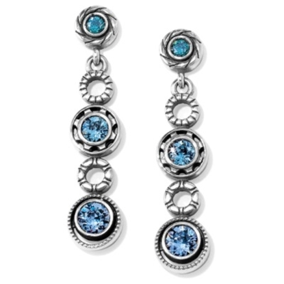 Picture of Brighton Halo Burst Post Drop Earrings - Silver/Tanzanite