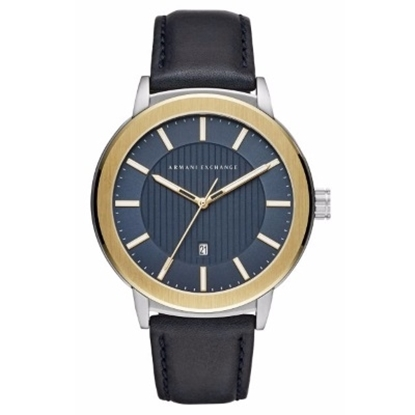 Picture of Armani Exchange Maddox Matte Watch with Blue Leather Strap