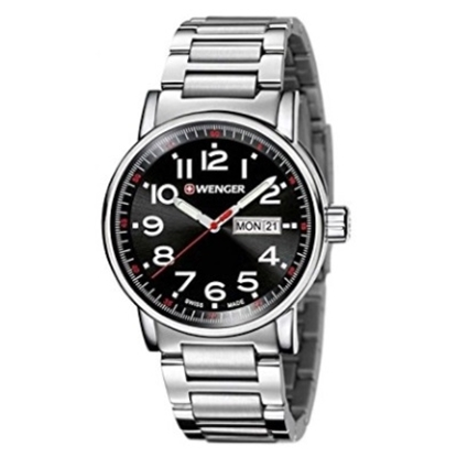 Picture of Wenger Attitude Day/Date Stainless Steel Watch with Black Dial