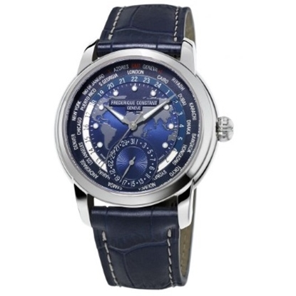 Picture of Frederique Constant Manufacture Worldtimer w/ Blue Map Dial