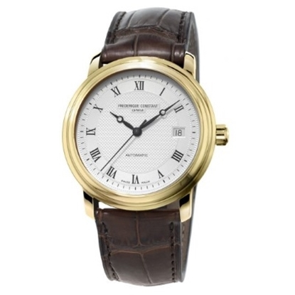 Picture of Frederique Constant Yellow Gold-Tone Watch with Leather Strap