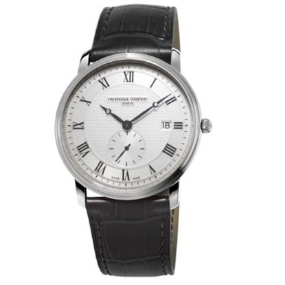 Picture of Frederique Constant Mens Slimline Leather Watch w/ Silver Dial