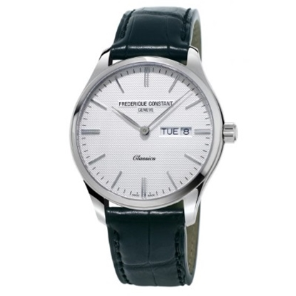Picture of Frederique Constant Classics Watch with Grey Dial & Tan Strap