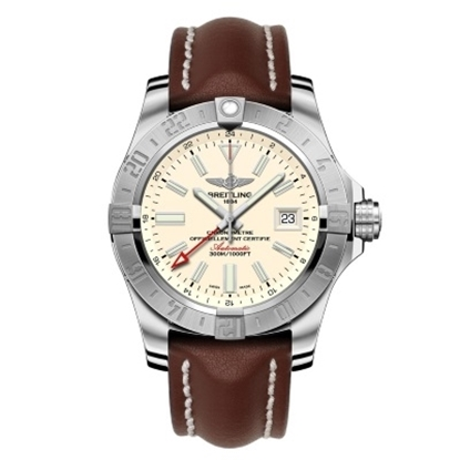 Picture of Breitling Avenger II GMT w/ Brown Leather Strap & Silver Dial