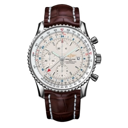 Picture of Breitling Navitimer World with Brown Croc Strap & Silver Dial