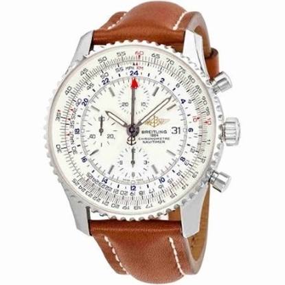 Picture of Breitling Navitimer World with Tan Strap & Silver Dial