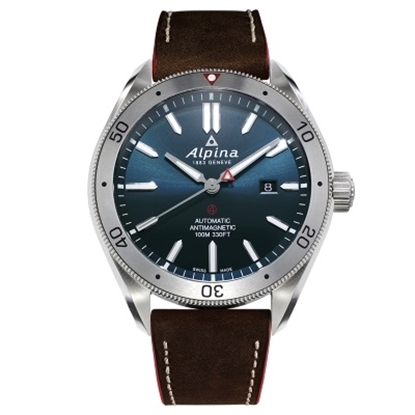 Picture of Alpina Alpiner Auto Leather Strap Watch with Navy Dial