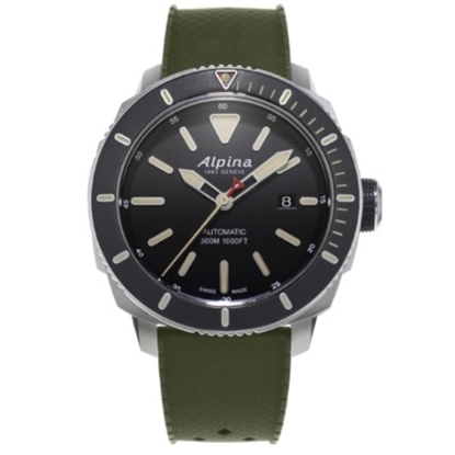 Picture of Alpina Seastrong Diver 300 Auto Watch with Green Strap