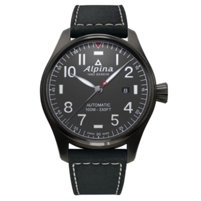 Picture of Alpina Startimer Pilot Auto Watch with Grey Dial & Black Strap