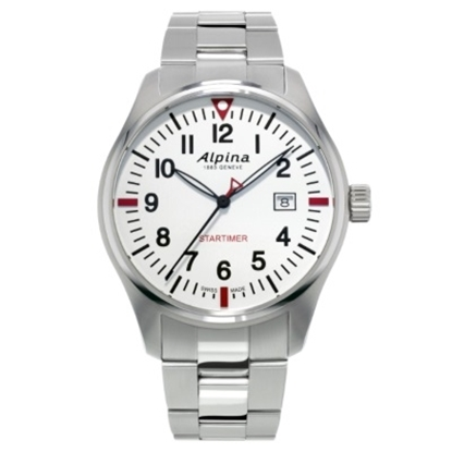 Picture of Alpina Startimer Pilot Quartz Steel Watch with White Dial