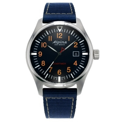 Picture of Alpina Men's Pilot Quartz Stainless Steel Watch with Navy Dial