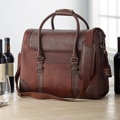 Picture of Wine Enthusiast 6-Bottle Leather Weekender Wine Bag