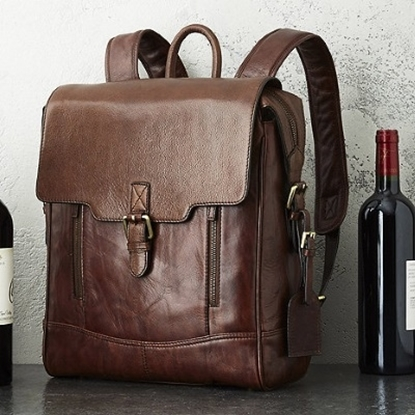 Picture of Wine Enthusiast 3-Bottle Leather BYO Wine Backpack