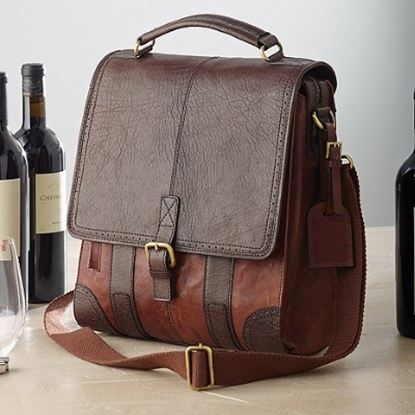 Picture of Wine Enthusiast 3-Bottle Leather BYO Wine Bag